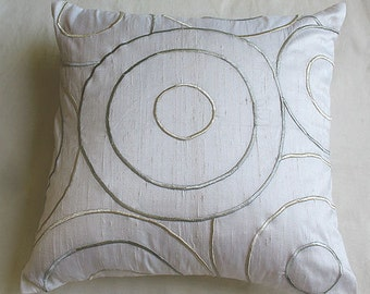White dupioni silk throw  pillow cover with circle design embroidered in gray  and  silver. 20 inches 20% OFF 4 IN STOCK