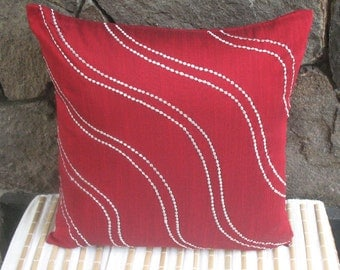 red throw pillow  w/ silver wave embroidery 18 inch decorative cushion cover-STOCK CLEARANCE 20% OFF- 1 in stock