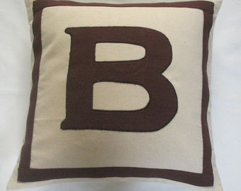 cream and brown monogram initial pillows -20 inches  custom made wedding gift, dorm decor