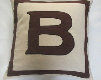 cream and brown custom made monogram initial pillows -18 inches