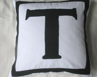 white throw pillow cover with black letter and border-14 & 16 inch custom made monogrammed cushion