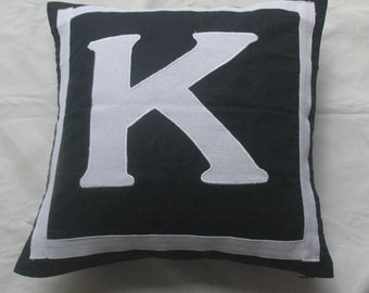 Letter K midnight blue and white monogram pillow cover 18 inch - IN STOCK