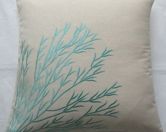off white throw pillow with aqua blue coral branch embroidery 18 inch cushion cover INSTOCK