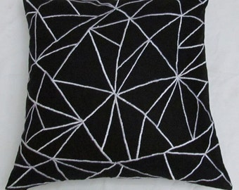 black and white linen graphic throw pillow cushion cover 2in stock ready to ship