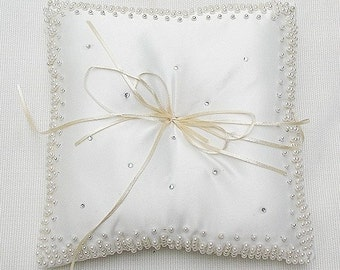 Wedding Ring Pillow for Ring bearer off white with pearl and diamante details CUSTOM MADE