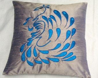 50% OFF- Simply  luxury gray raw silk cushion cover