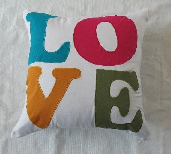 love pillow or word pillow 22 inch cushion cover custom made pillow cover