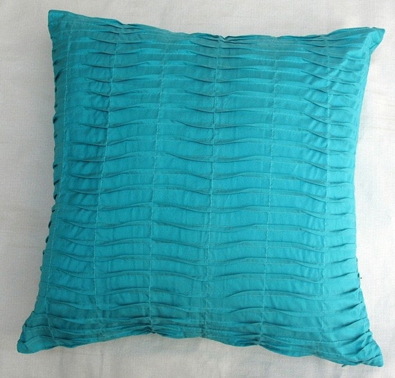 Turquoise blue decorative throw pillow cover pin tuck silk 16