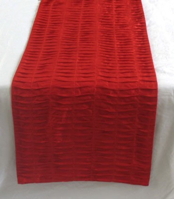 Bright Red Pin tuck table runner 52X14 inches