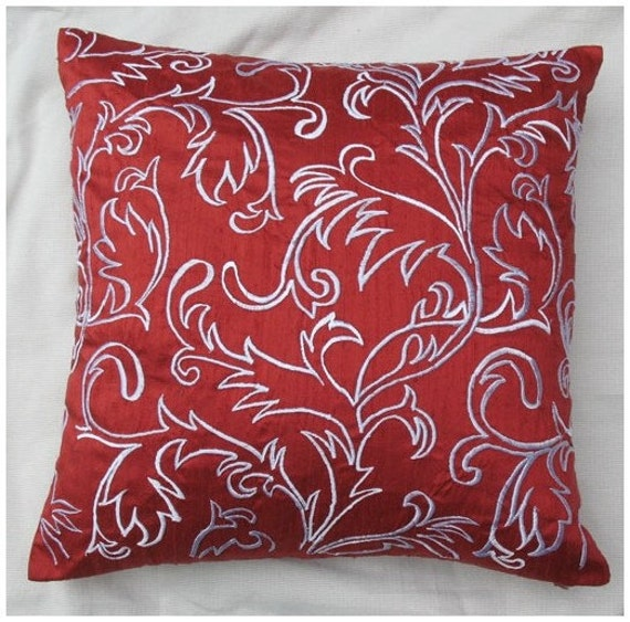 Rust Red Silk throw pillow with Moroccan style embroidery in
