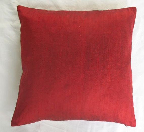 Red solid silk dupioni cushion cover 20X20 inch decorative throw pillow cover
