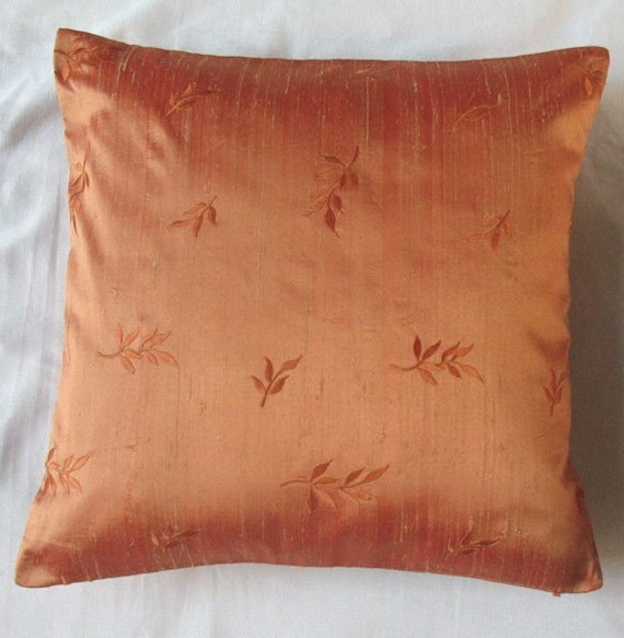 Orange Silk Throw Pillow With Leaf Embroidery 16 Inch