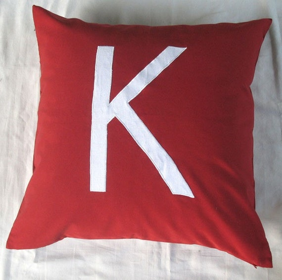 Decorative Pillows Letters : Alphabet letter word monogram pillows Custom Made 18 inch