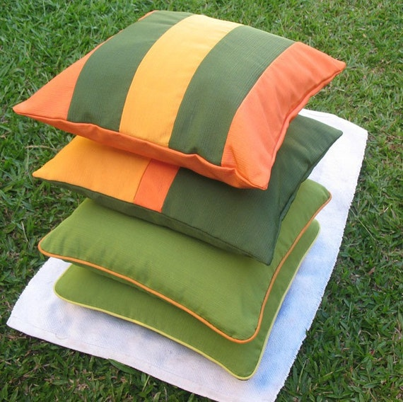 orange green outdoor chair cushions patio throw pillow covers 18 inches in Stock