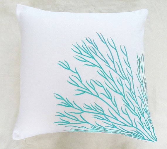 White and aqua blue coral pillow  coral trellis pillow Custom made