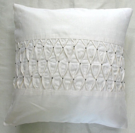 off white pintuck linen cushion cover with bead work 16X16 inch throw pillow and accent cushion modern