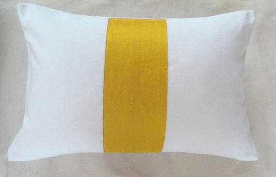 saffron yellow silk on white rectangle throw pillow 12X16, 12X18 inch long cushion cover