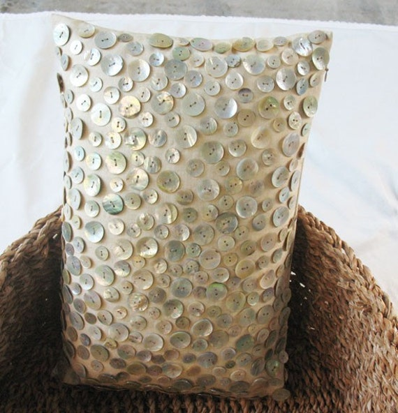 Beige linen boudoir oblong pillow with mother of pearl button embellishment 12X18 inch