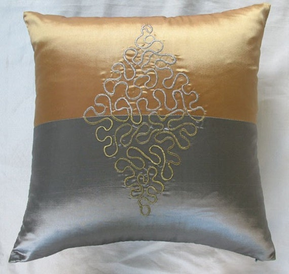 silver and gold decorative throw pillow with motif embroidery. Black Bedroom Furniture Sets. Home Design Ideas