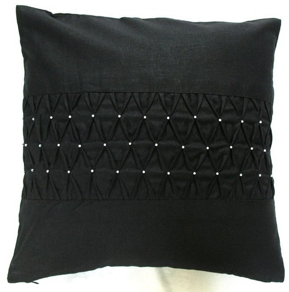 black pintuck throw pillow cover with bead work. Black Silk