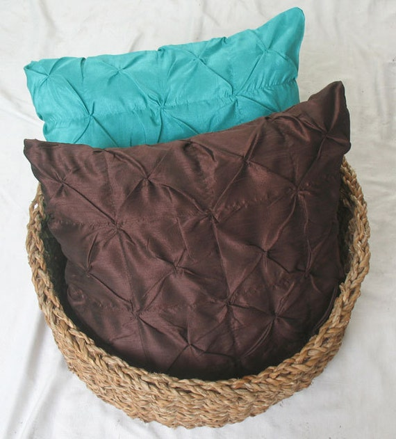 26 Inch Decorative Pillow Covers : chocolate brown euro sham throw pillow cover 26 inch silk pin