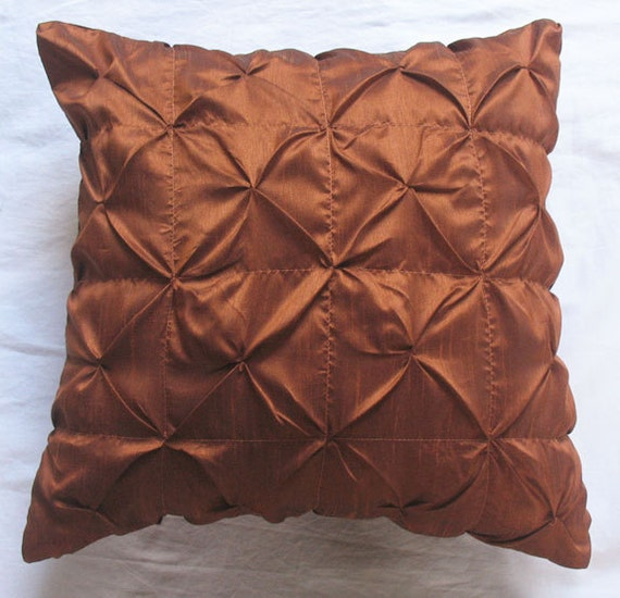 20 Inch Throw Pillow Covers : Rust brown throw pillow cover 20 inch silk pleated cushion