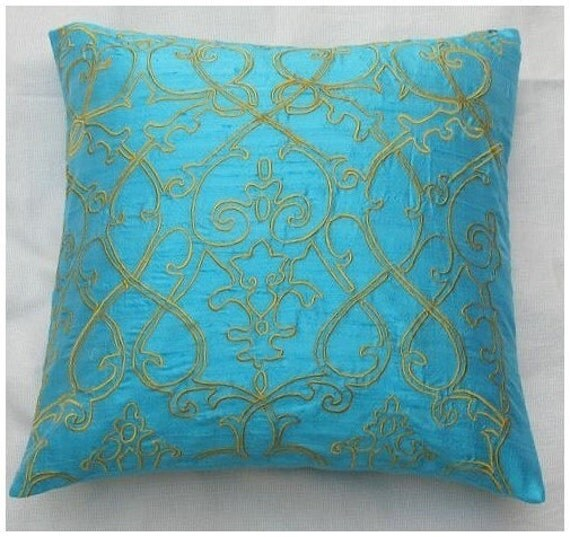 turquoise and yellow silk pillow with filigree embroidery
