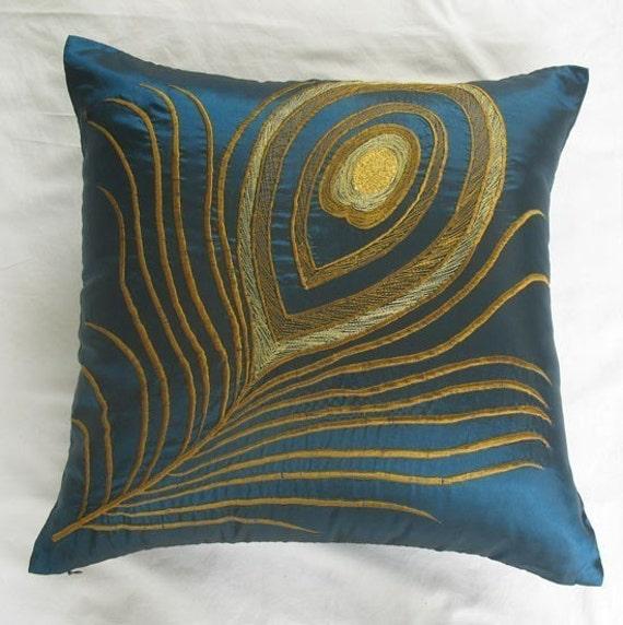 dark teal blue peacock feather pillow. Peacock themed cushion. Gold peacock feather. custom made