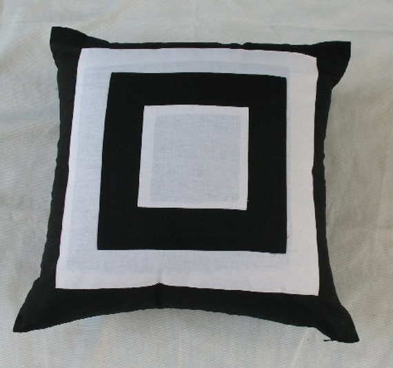 black and white throw pillow cover graphic design linen 20 inch - can be custom made in other sizes