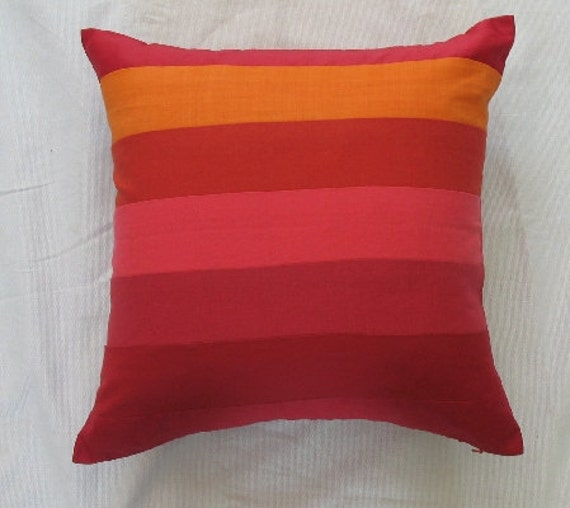orange and red striped linen throw pillow 16 inch can be
