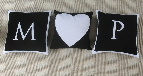 Letter Word monogram pillows  Custom Made-18 inch  throw cushions - Custom order 3 pcs 20% off.