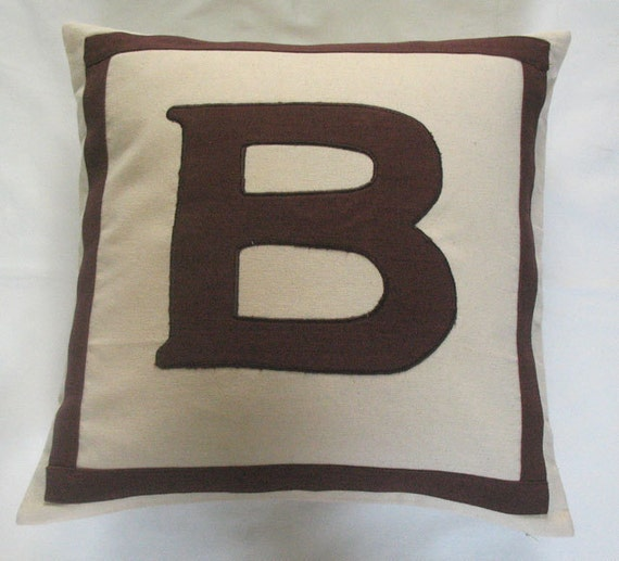 cream and brown monogram pillow custom made - dorm decor , wedding gift, baby shower gift 18 inch