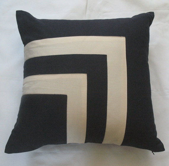 navy and cream throw pillow cover with square graphic design