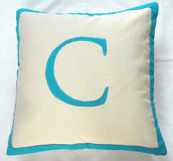 Letter C cream pillow cover with teal blue monogram letter 18 inch - IN STOCK