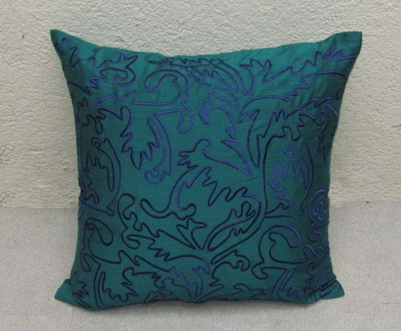 teal green throw pillow cover with blue Moroccan inspired