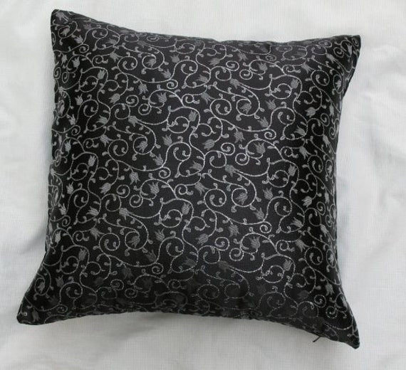 black and silver pillow black brocede throw pillow satan. Black Bedroom Furniture Sets. Home Design Ideas