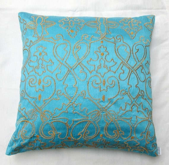 Simply Luxury Light Blue raw silk  Cushion cover