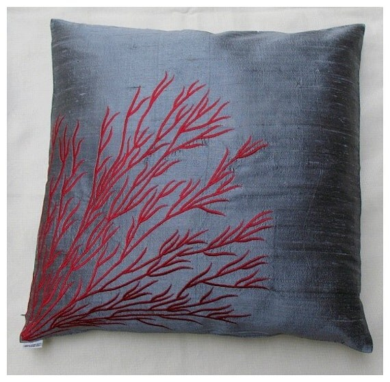 Items Similar To Gray Silk Throw Pillow Cover W Coral