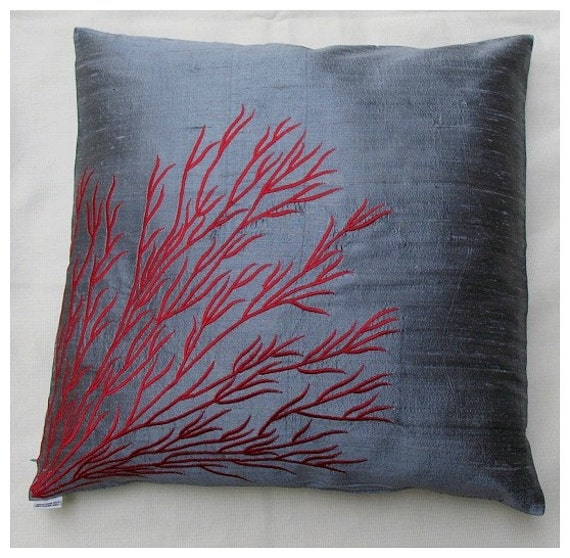 Items similar to Gray silk throw pillow cover w/ coral branch embroidery 16 inch cushion cover ...