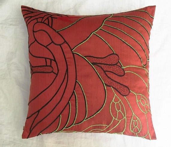 brick red abstract peacock cushion cover Reduced Price 1 piece in stock
