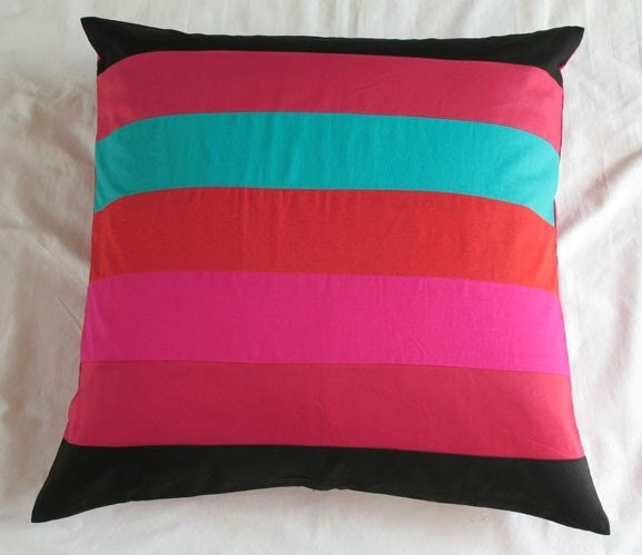 Floor Pillow Covers 25x25 : black floor pillow cushion cover with Multicolor stripes