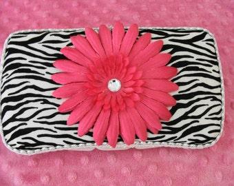 Baby Wipes Case Zebra print w/ Bright pink flower