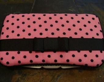 Pink and Black Polka Dot Wipes Case