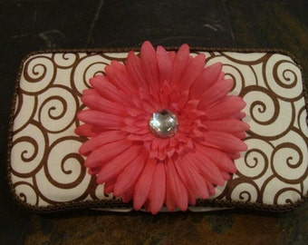 Brown Swirl and Pink Daisy baby Wipes Case