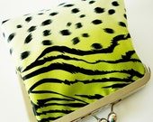 Lime Zebra  Cheetah Fusion Luxurious Clutch Lined in Silk