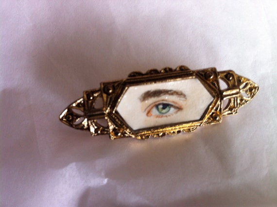 Hand-painted Eye Miniature Portrait Brooch Original Watercolor Pin
