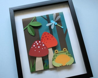 Frog In The Woods 8x10 3D Paper Cut Tutorial/Pattern PDF