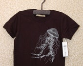 Silver Jellyfish on Black - Kids' S/S Organic Cotton Crew Neck Tee - Sizes 2T and 3T