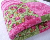 Tropical Pink Chenille Baby Quilt by ragadoos - 20% OFF SPRING SALE