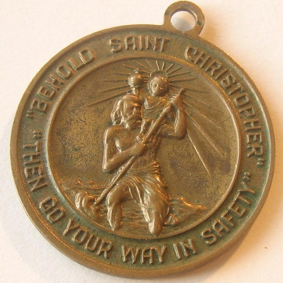 Religious Medal - Vintage Brass St. Christopher and Pope John XXIII
